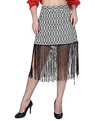 Miway Women's Print Cotton Lycra Black & White Skirt (34)