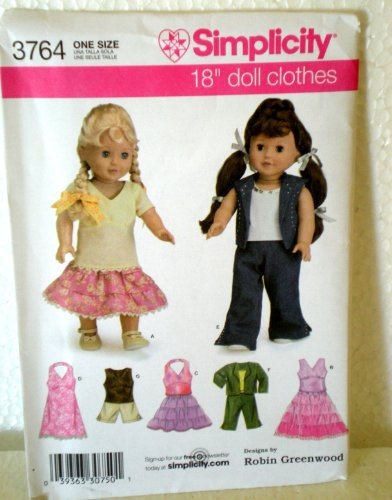 "Simplicity 3764 18"" Doll Clothes Pattern By Robin Greenwood"