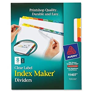 Avery Index Maker White Dividers, 8-Tab, Laser/Inkjet, Letter Size, Assorted/Clear, 8 per Set (11407)