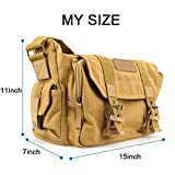 BESTEK® Waterproof Canvas SLR DSLR Digital Camera Bag Case Casual Shoulder Messenger Bag Outdoor Travel Photography Bag Gadget Organizer with Shockproof Insert & iPad Tablet Magazine Pocket for Sony/Canon/Nikon, iPad and Accessories (Khaki)