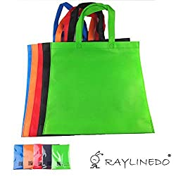RayLineDo Expandable Shopping Non-Woven Bags Reusable Grocery Shopping Tote Bags Convenient Grocery Handy Bags Random Color - 7PCS