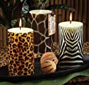 "Pack of 6 ""Jungle Nights"" Scented Assorted Animal Print Pillar Candles"