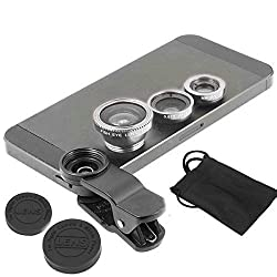 ApeCases Branded Universal 3 in 1 Cell Phone Camera Lens Kit - Fish Eye Lens / 2 in 1 Macro Lens & Wide Angle Lens (Silver)
