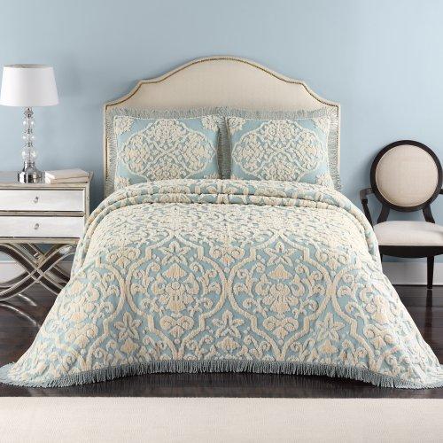 Lamont Home Layla Bedspread, Twin, Blue/Linen front-883270