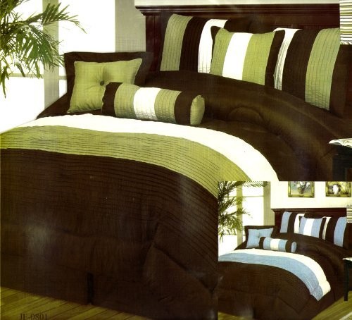 Brand New Queen Size 7Pcs Luxury Bed In A Bag Comforter Set front-44943