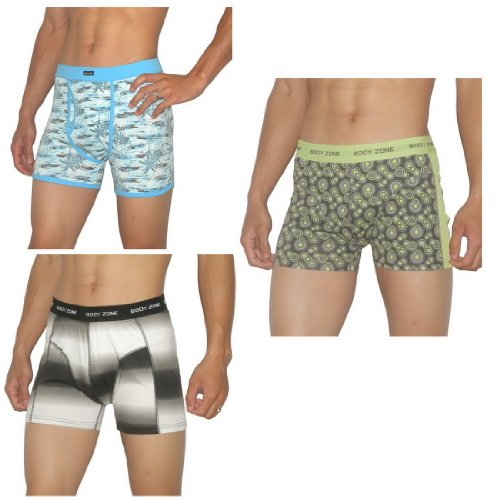 3 PACK: Mens Body Zone Fitted Fine knit Bodywear Boxer Trunks / Underwear Briefs - Size-Large