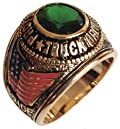 Tr-39 Professional Truck Driver Ring Lab Created Emerald 5 Carat Stone 14kt Gold Electroplate (Available in Sizes 9 to 14) Inscribed on the Ring Is a Full Color USA Flag, a Big Rig Truck and the Words Pride and Safety. Lifetime Guarantee