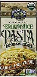 Lundberg Organic Brown Rice Pasta and Sauce Mix, Garlic and Olive Oil, 4.5 Ounce (Pack of 6)