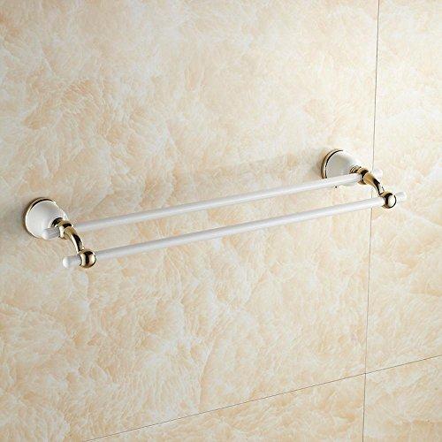 BBSLT-Barra di tovagliolo doppio oro bianco di lega di rame, asciugamano appeso bagno doccia guanto pendente