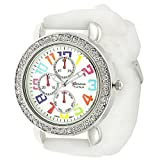 Geneva Platinum Mother Of Pearl Silicone Watch – White