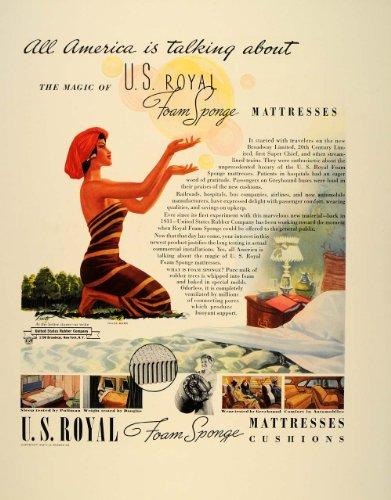 1939 Ad U.S. Rubber Royal Foam Sponge Mattress Cushions - Original Print Ad