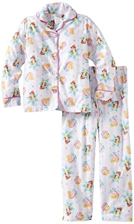 Komar Kids Girls 2-6X Holiday To Remember Long Sleeve Disney 2 Piece Pajama Set, White, 7/8