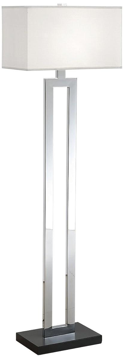 Artiva USA Geometric, Contemporary Design, 60-Inch Chrome & Black Contrast Floor Lamp with Rectangular Hardback Shade