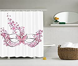 Ambesonne Masquerade Decorations Collection, Masks for Carnival Fancy Dress Centuries-Old Tradition Venice Design, Polyester Fabric Bathroom Shower Curtain Set with Hooks, Pink Purple White