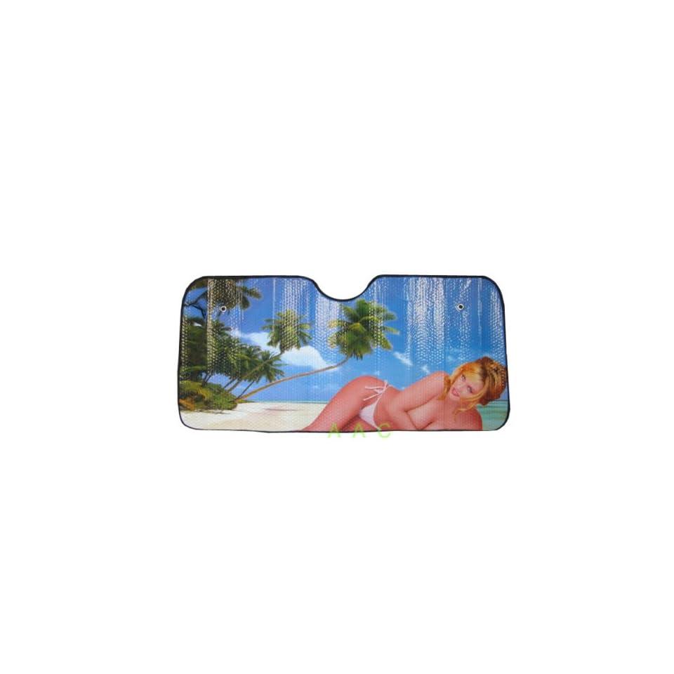 Automotive Windshield Sun Shade Beach Girl Automotive on PopScreen 36a10a8f657