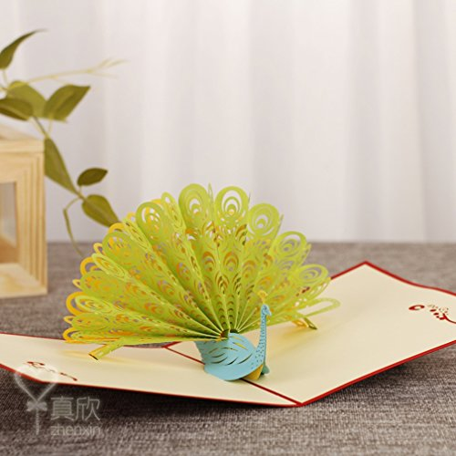 3D Pop Up Handmade Cards Creative Greeting Cards Paper craft (Green Peacock) (Peacock Wedding Programs compare prices)