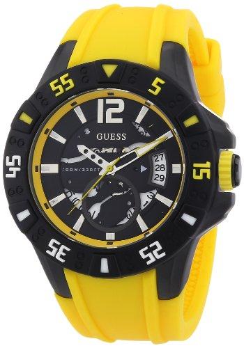 Guess W0034G7 - Reloj analógico de cuarzo para hombre con correa de silicona, color amarillo