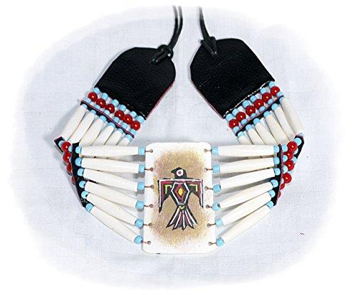 Collana in stile indiani d'America, con perline hairpipe, 32/65 cm, per servizio fotografico