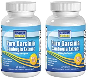 MAXIMUM GARCINIA 1000mg Pure Garcinia Cambogia Extract Two Pack (2 Pack or Twin Pack), 1000mg, 240 Capsules 80 Day Supply with Money Back Guaranteed -- 3000mg per day (3 capsules per day) The Revolutionary Fat Buster as seen on TV - Helps Suppress Your Appetite and Blocks Fat Production