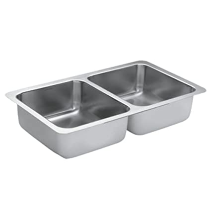 Moen G18215 1800 Series Steel 18-Gauge Double Bowl Sink, Stainless