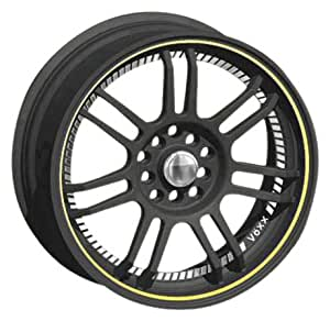 "Voxx TU-3 Satin Black Wheel with Machined Undercut and Yellow Stripe (17x7""/4x114.3mm)"