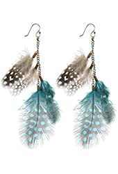 Zad Brown & Blue Feather & Chain Dangle Earrings