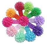 QS Baby Girls Elastic Headbands with Chiffon Flower Petal (Pack of 10)