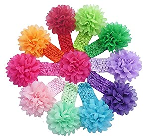 """QS® Baby Girl 11"""" Headbands with Chiffon Flower Petal (Pack of 10)"""