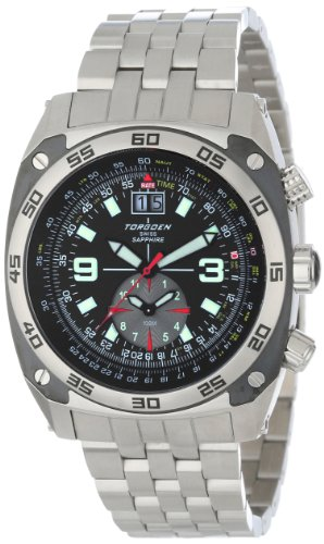 Torgoen Swiss Mens T07201 Pilot Computer Dual-Time Zone Stainless Steel Watch<br />