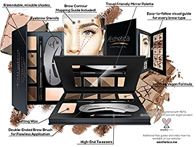 Cheapest Aesthetica Cosmetics Brow Contour Kit - 15-Piece Contouring Eyebrow Makeup Palette - Includes Powders, Wax, Stencils, Spoolie/Brush Duo, Tweezers & Step-by-Step Instructions - Vegan & Cruelty Free from Aesthetica - Free Shipping Available
