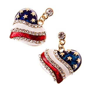 Patriotic American Flag Crystal Rhinestone Stripe Heart Charm Earrings Gold