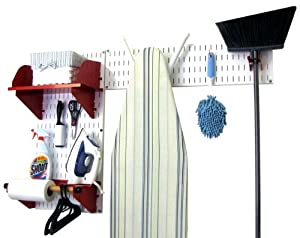 Wall Control Laundry Room Organizer Wall Mounted Laundry Room Storage and Organization Standard Kit White Wall Panels and Red Accessories