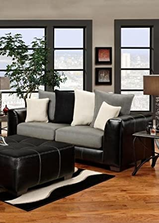 Chelsea Home Furniture Landon Sofa, Idol Steel/Laredo Black