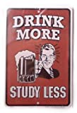 Sugar Sins Drink More Study Less Red Retro Fridge Magnet