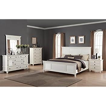 Roundhill Furniture Regitina 016 Bedroom Furniture Set, Queen Bed, Dresser, Mirror, Nightstand and Chest, White