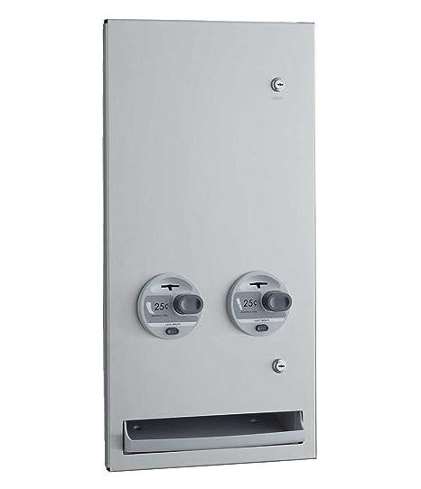 "Bobrick B-37063 25 Napkin/Tampon Dispenser, 13-7/8 x 28"" TrimLine Series Recessed 25 Cents - Satin Finish Stainless Steel"