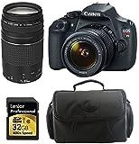 Canon EOS Rebel T5 EF-S 18-55mm IS II Digital SLR Kit with 18-55mm IS II Lens + 75-300mm III Lens + Camera Bag + Lexar 32 GB High-Speed SD Card