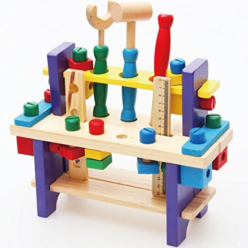 【知育玩具】 【木製おもちゃ】 組み立て工具 大工さんセット ワークベンチ ねじ遊び