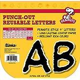 """Eureka Reusable 4"""" Deco Letters, 212 Pieces, Peanuts Black Letters Black"""