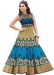 Isha Enterprise Women's Banglori Silk, Digital Print Dark Blue, Beige Khatli Work Gown