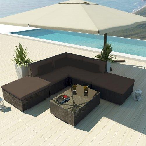 Uduka Outdoor Sectional Patio Furniture Espresso Brown Wicker Sofa Set Porto 6 Dark Grey All Weather Couch