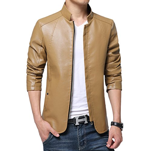 Homaok Men's Zip-up Leather Moto Biker Jacket Medium Khaki (Outdoor Leather Jacket compare prices)