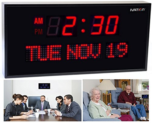 Ivation Big Oversized Digital Blue LED Calendar Clock with Day and Date - Shelf or Wall Mount (12 Inch - Red)