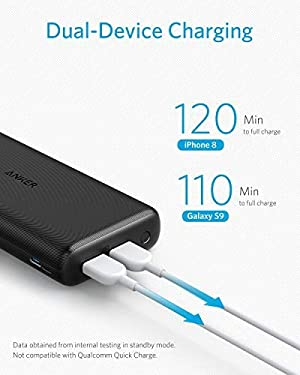 Anker PowerCore Lite 20000mAh Portable Charger, Ultra-High Capacity 4.8A Output Power Bank, External Battery (Color: Black)