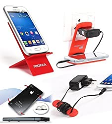 Riona Mobile holder A2 Red + Hanger Stand + Cable Organizer + Scratch Guard Pads A2R-C