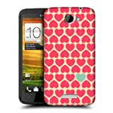 Head Case Designs Yellow BG Pink Heart Pattern Protective Snap-on Hard Back Case Cover for HTC One X