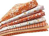 綿 プリント生地 四角形シリーズ 7枚セット 50×50㎝ DIY縫う手作りの布地 (オレンジ)