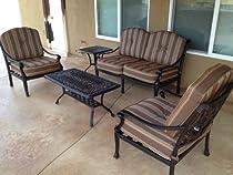 Hot Sale Heritage Outdoor Living Flamingo Cast Aluminum 5pc Outdoor Patio Deep Seating Set with Stripe Cushions - Antique Bronze