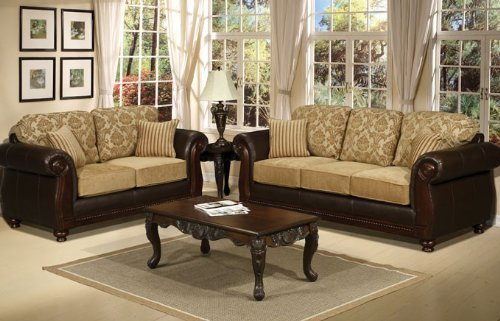 Buy Low Price Poundex 2pc Loveseat Sofa Set with Transitional Style in Beige Color (VF_F7938A)