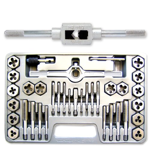 Neiko Professional-Grade 40-Piece High-Strength Steel Alloy Tap & Die Hexagon Set - Metric - M3 to M12